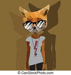 schattig, mode, hipster, dier