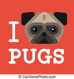 schattig, mode, liefde, aanhalen, pugs., pug hond, hipster
