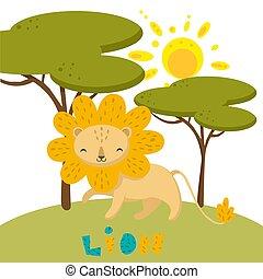 schattig, nature., hand, leeuw, vector, getrokken