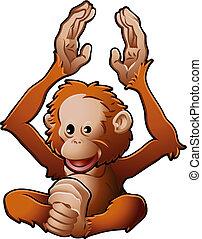 schattig, orang-utan, illustratie, vector