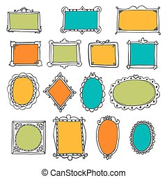 schattig, set, elements., decoratief, hand, sketchy, frames., ontwerp, lijstjes, getrokken