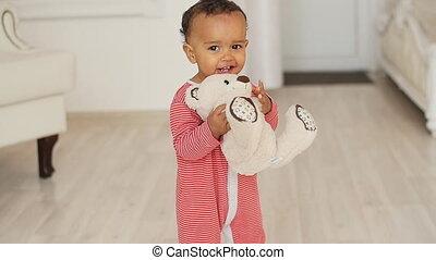 schattig, speelbal, teddy beer, afrikaan, baby, het glimlachen