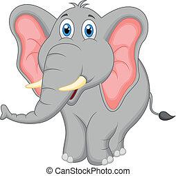 schattig, spotprent, elefant