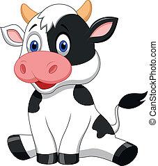schattig, spotprent, koe, zittende