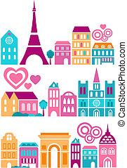 schattig, steden, vector, illustratie, wereld