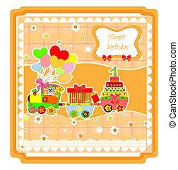 schattig, trein, verjaardag kaart, vrolijke