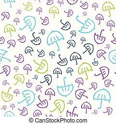 schattig, vector, seamless, paraplu's, model