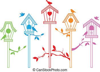 schattig, vector, vogel, huisen