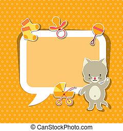 schattig, weinig; niet zo(veel), fotokader, cat., achtergrond, baby