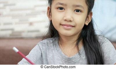 schattig, weinig; niet zo(veel), ruimte, het glimlachen, aziatisch meisje, kopie, samenstelling, geluk
