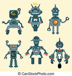 schattig, weinig; niet zo(veel), set, -, robots, verzameling, 1, vector