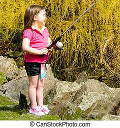 schattig, weinig; niet zo(veel), staaf, visserij, meisje