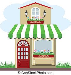 schattig, weinig; niet zo(veel), winkel, woning