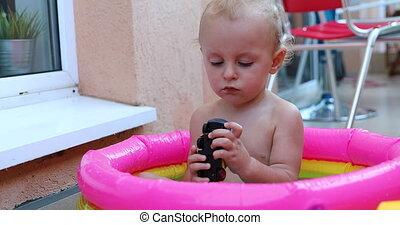 schattige, gespeel zwembad, mini, speelgoed, baby