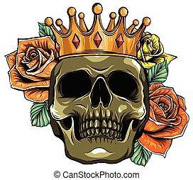 schedel, vector, rozen, kroon, illustratie, dood, menselijk