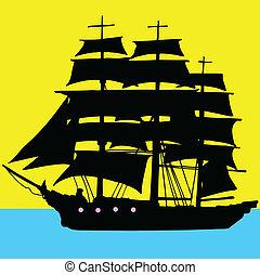 scheepje, piraten, illustratie