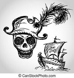 scheeps , hoedje, zeerover, schedel
