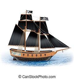 scheeps , illustratie, zeerover