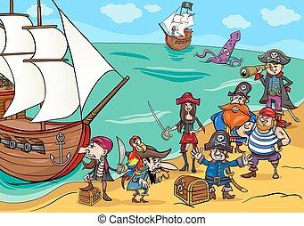 scheeps , piraten, spotprent