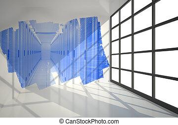 scherm, abstract, het tonen, kamer