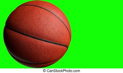 scherm, alfa, 3d, groene, vertolking, 4k, basketbal, het spinnen, channel., bal, animatie