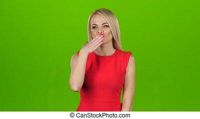 scherm, groene, kisses., blonde, geeft, jurkje, rood, uit