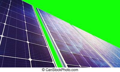 scherm, -, groene, zonne, panelen, lus