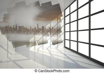 scherm, het tonen, cityscape, abstract, kamer