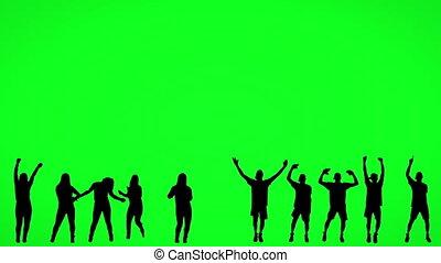 scherm, silhouette, mensen, dancing, groene
