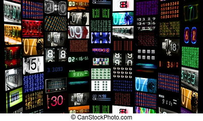 schermen, alles, gecreëerde, data, getal, digitale , het tonen, inhoud, animatie, tijd, information., zelf, hd