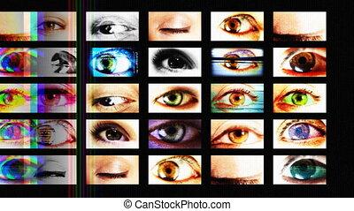 schermen, anders, gecreëerde, schouwend, groot, het tonen, alles, broer, inhoud, animatie, digitale , eyes, zelf, hd