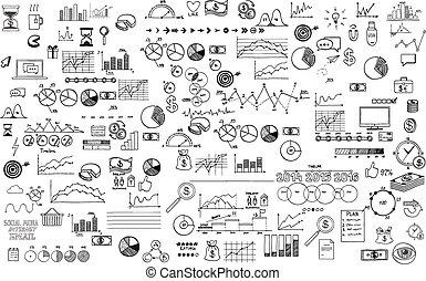 schets, communie, financiën, zakelijk, doodle, ecomomic, verzameling, hand, infographics, getrokken