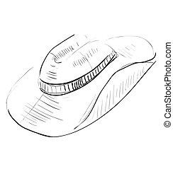 schets, cowboy hoed, pictogram