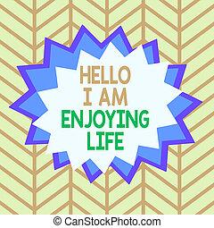 schets, design., betekenis, hallo, asymmetrisch, gevormd, genieten, eenvoudig, vrolijke , life., levensstijl, voorwerp, ontspannen, concept, formaat, handschrift, spullen, tekst, ongelijk, veelkleurig, model, het genieten van