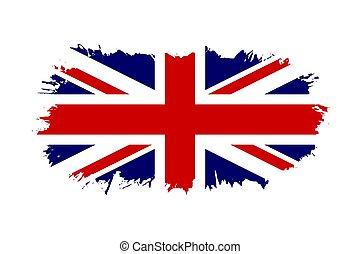 schets, engeland, nationale, patriotism., groot-brittannië, brits, design., verenigd, flag., vrijstaand, achtergrond., witte , koninkrijk, grunge, symbool, illustratie, vlag, dommekracht, groot, grafisch, land, vector, borstel, uk, engelse , stroke.