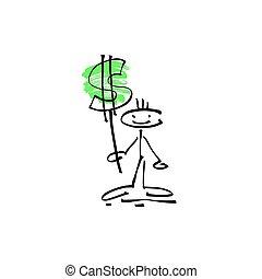 schets, figuur, dollar, hand, stok, menselijk, glimlachen, meldingsbord, tekening