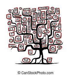 schets, gezin, mensen, portretten, boompje, ontwerp, jouw