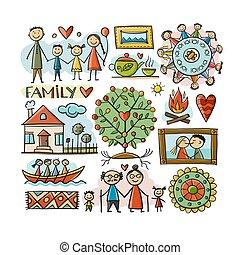 schets, house., life., grandparents., ouders, jouw, ontwerp, gezin