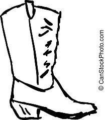 schets, illustratie, cowboylaarzen, witte , vector, achtergrond.