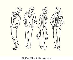 schets, mode, set, illustratie, vector, man