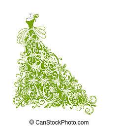 schets, ontwerp, floral, groene kleding, jouw