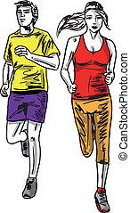 schets, paar, runners., illustratie, vector, marathon