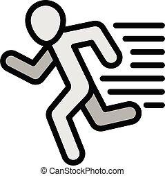 schets, pictogram, rennende , fitness, stijl