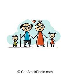 schets, samen, grootouders, vrolijke , jouw, grandchildrens., ontwerp, gezin
