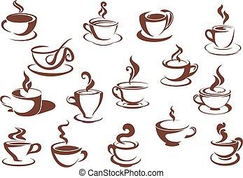schets, set, steaming, doodle, dranken, warme