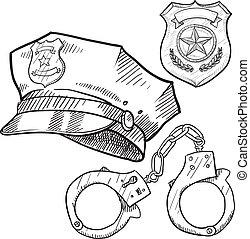 schets, voorwerpen, politie
