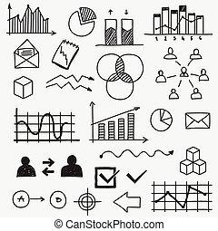 schetsen, learnings, communie, financiën, zakelijk, doodle, concept, hand, analytics, infographic, getrokken, voortgang