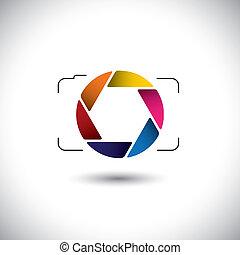 schieten, dit, grafisch, kleurrijke, video's, &, eenvoudig, modieus, abstract, punt, vector, of, lens, foto's, sluiter, fototoestel, digitale , opening, repesentatie, icon., boeiend