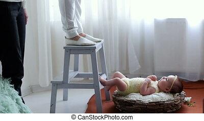 schieten, foto, mand, pasgeboren baby