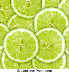 schijfen, abstract, citrus-fruit, groene achtergrond, kalk